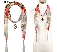 D Exceed Woman's  Glass Stone Pendant Chiffon Scarf Necklace