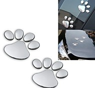 ZIQIAO 2pcs/ Lot Stylish Silver Funny Bear Paw Pet Animal Footprint Emblem 3D Car Stickers Auto Accessories