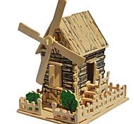 3d puzzles quadruple bricolage bois maquillage assemblé navire de puzzle maison de moulin à vent en bois modèle de simulation en trois dimensions