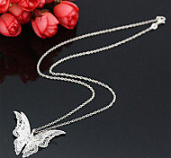 925 Silver Plated Hollow Diamond Butterfly Pendant Necklaces  Daily / Casual 1pc
