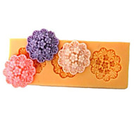 Три отверстия Продолговатые Цветок силиконовые формы Фондант Пресс-формы Сахар Craft Инструменты Смола цветы Плесень пресс-формы для тортов