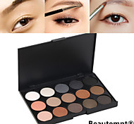 15 Colors Professional 2in1 Natural Long Lasting Smoky Matte&Shimmer Eyebrow Powder/Eyeshadow Cosmetic Palette