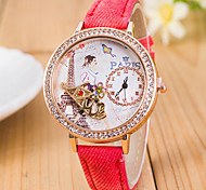 L.WEST Ladies' 3D KISS Diamonds Denim Silicone Quartz Watch Cool Watches Unique Watches