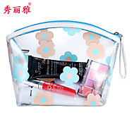 Makeup Storage Cosmetic Bag / Makeup Storage PU Flower/Floral Ellipse 20*10*12CM Black / Red