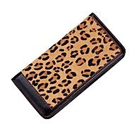 Leopard Print Ultra Slim Genuine Leather Folio Flip Cover Case with Kickstand and Card Slots for iPhone 6 / 6s