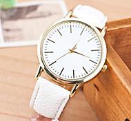 Mulheres Relógio de Moda Quartz Relógio Casual Couro Banda Relógio de Pulso Branco