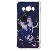 lila Schmetterling stoßfest als tpu Softshell-Abdeckung für Samsung-Galaxie J5 (2016)