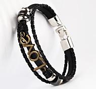 amour forme pu bracelet pour hommes