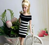 Informale Abiti Per Barbie Doll Bianco / Nero Abiti