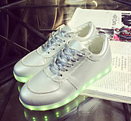 Women's Shoes Leatherette Spring / Summer / Fall Round Toe Outdoor / Casual / Athletic Flat Heel Lace-up Silver