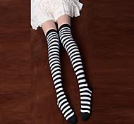 Blanco y negro a rayas Punk Lolita Algodón Over Knee Socks