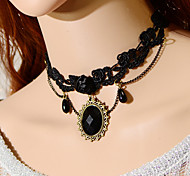 Graceful Vintage Gothic Style Exquisite Lace Pearl Pendant Choker Necklace Torque