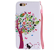 Tree And Cats Pattern PU Leather Material Phone Case for iPhone 6/iPhone 6S