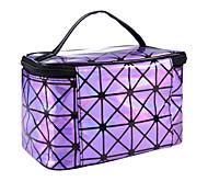 Makeup Storage Cosmetic Bag / Makeup Storage PU Lattice Ellipse 19.2*12.3*13CM Blue / Red / Purple / White