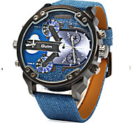 Men's Military Fashion Double Analog Time Leather Band Quartz Watch Cool Watch Unique Watch