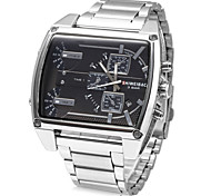 Men's Rectangle Fashion Design Silver Stainless Steel Quartz Watch Wrist Watch Cool Watch Unique Watch