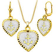 Vintage 18k Gold/Platinum Plated Heart Shape Necklace&Earrings Fashion Women Anchor Jewelry Set Gift S20162