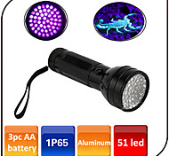 51 Led UV Flashlight/Torch LED Wavelength 395nm-410nm Waterproof / Counterfeit Detector / Led Purple Light / AA Battery