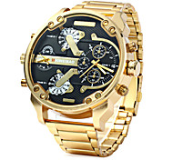 Men's Military Fashion Double Time Gold Steel Band Quartz Watch Cool Watch Unique Watch