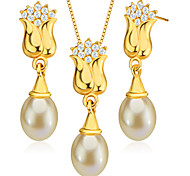 New Trendy Bauhinia Shape 18k Gold Plated Crystal Jewelry Set Pearl Necklace&Earrings for Women Gift S20155