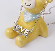 "New Fashion Alloy Zircon ""LOVE"" Pattern Diamond Pendant Necklace"