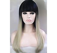 дешевые парики двухцветная 1b / серебро блондинка моды Ombre знаменитости парик прямые женские элегантные парики прямой парик
