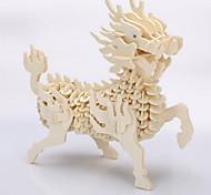 3d énigmes diy main en bois en trois dimensions modèle animal de simulation de puzzle de jouets éducatifs pour enfants kirin