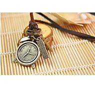 Vilam® Vintage Alarm Clock Leather Necklace Copper Necklace Pendant Necklaces Sports 1pc