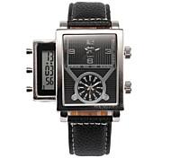 Men's Military Fashion Analog Digital Three Time Zones Leather Band Quartz Watch Wrist Watch Cool Watch Unique Watch