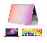 "3 in 1 Regenbogen bunten Kunststoff-Ganzkörper-Fall + Tastaturabdeckung + Displayschutzfolie für MacBook Pro 13 ""/ 15"""