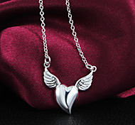 Fashion Classic Angel Heart Beauty Silver Necklace For Women&Lady
