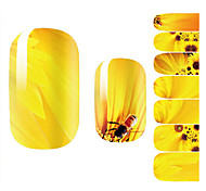 Fashion Beautiful Bee Sunflower Yellow Flower Nail Decal Art Sticker Gel Polish Manicure