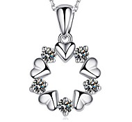 Heart Flower Circle Wreath AAA Zircon Sterling Silver Necklace Pendant Necklaces Daily / Casual 1pc
