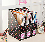 Desktop File Magazine Paper Storage Box Black Hearts Three Loaded