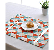 """2pcs Placemats Pack Cotton Fabric Washable Fashion Pattern 11.8"""" by 15.7"""""""