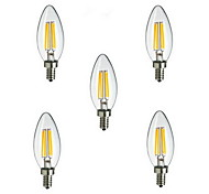 5pcs E14 4W 400LM Warm/Cool White 360 Degree Edison Filament Light LED Candle Bulb(AC220-240V)