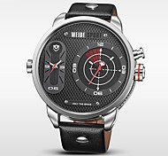 Men's Brand Luxury Military Double Time Black Leather Analog Quartz Watch Cool Watch Unique Watch