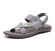 Aokang Men's Leather Slippers Gray