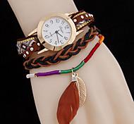 Women's Leaves Woven Pendant Twist Quartz WatchWomen's Fashion Plate Steel Watch Cool Watches Unique Watches