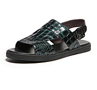 Aokang Men's Leather Sandals Green