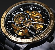 Men's Skeleton Auto Mechanical Stainless Steel Band Wrist Watch Cool Watch Unique Watch