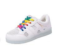 Calçados Femininos-Tênis Social-Arrendondado-Rasteiro-Branco-Courino-Ar-Livre / Casual / Para Esporte