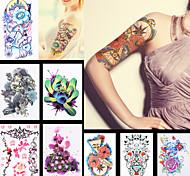 8pcs kylin temporal papel de la mujer dragón chino etiqueta engomada del tatuaje arte corporal atrapasueños la manga de la flor del hombro