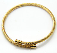 Thin Cable Stainless Steel Cuff Bangle Adjustable