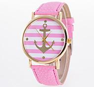 Casual Girls And Boys Wristwatch Fashion Quartz Watch with Golden  Anchor Stripe Sign Dial Elegant Women's Wrist Watch