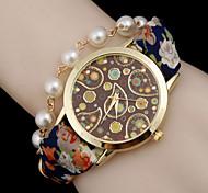 Damen Modeuhr Armband-Uhr Quartz Armbanduhren für den Alltag Leder Band Böhmische Perlen Schwarz Blau Rot Orange Grün BeigeSchwarz Orange