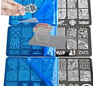 10шт кружевной штамповочный тарелка для полировки ногтей шаблон для печати с квадратной прозрачной печатью bc1-10