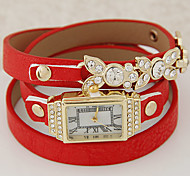 Women's Fashion Rhinestone Multilayer Leather Metal Leaves Bracelet Watch