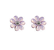 Stud Earrings Simulated Diamond Flower Pink Light Green Jewelry