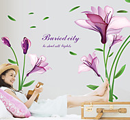 Wall Stickers Wall Decals, Beautiful Purple Magnolia PVC Wall Sticker